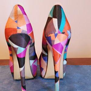 Liliana Shoes - Multi color fabric heels